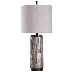 Gold Ribbed Round Table Lamp