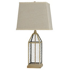 Pine and Chicken Wire Table Lamp