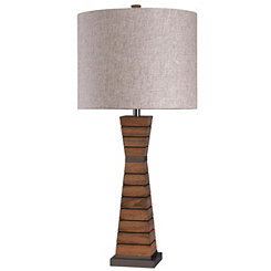 Tapered Wood Column Table Lamp