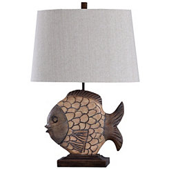 Carved Natural Fish Table Lamp