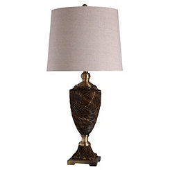 Black and Gold Leaf Urn Table Lamp