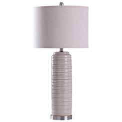 Cream Ringed Ceramic Table Lamp