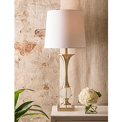 Gold and Crystal Hourglass Table Lamp