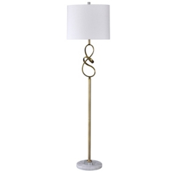 Golden Sculpted Floor Lamp with Marble Base