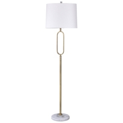 Golden Oval Floor Lamp with Marble Base