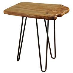 Cedar Top Metal Accent Table