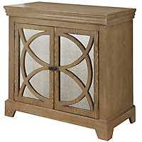 Mirrored Circle 2-Door Natural Wood Cabinet