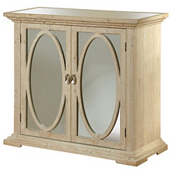 Mirrored Oval 2-Door Washed Ivory Wood Cabinet
