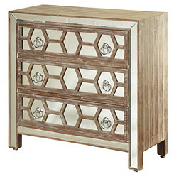 Mirrored Fretwork 3-Drawer Dresser
