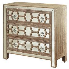 Mirrored Fretwork 3-Drawer Dresser
