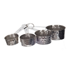 Silver Hammered Metal Measuring Cup Set