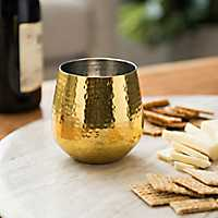 Gold Hammered Metal Wine Glass