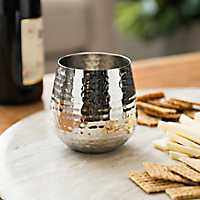 Silver Hammered Metal Wine Glass