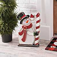 Wooden Snowman Statue with Candy Cane