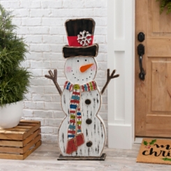 Wooden Snowman with Bright Scarf Statue