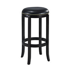 Jackson Black Swivel Bicast Leather Bar Stool