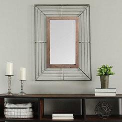 Audrey Black Metal and Wood Wall Mirror