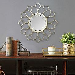 Lauren Gold Metal Flower Wall Mirror