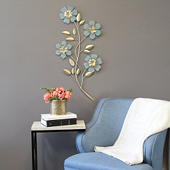 Blue and Champagne Acrylic Flower Branch Plaque