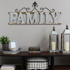Family Scroll Galvanized Metal Wall Plaque