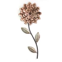 Metal Blush Romantic Flower Stem Wall Sculpture