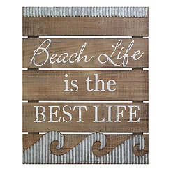 Beach Life is the Best Life Wood and Metal Plaque