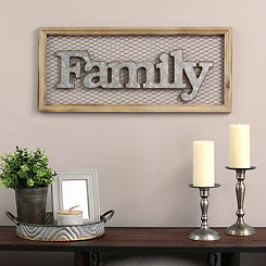 Framed Family Chicken Wire Wall Plaque