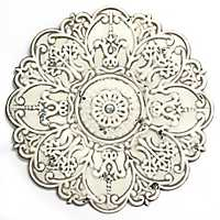 Small White Metal Medallion Wall Plaque