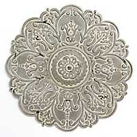 Small Gray Metal Medallion Wall Plaque
