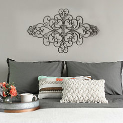 Distressed Gray Scroll Wall Plaque