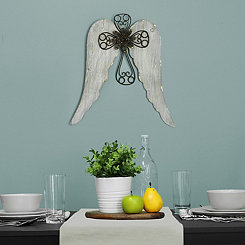 Angel Wings with Cross Wall Plaque