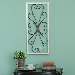 Distressed White Scroll Panel Wall Plaque