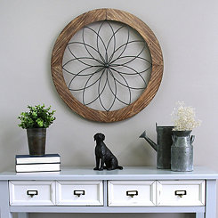 Round Wood and Metal Medallion Wall Plaque