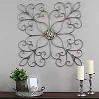 Silver Square Medallion Scroll Wall Plaque