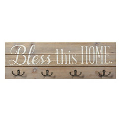 Bless This Home Hook Wall Plaque
