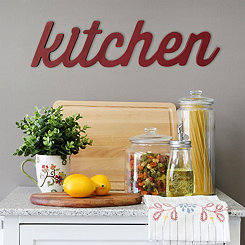 Red Kitchen Wood Wall Plaque