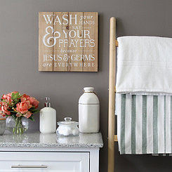 Wash Your Hands Wood Plank Wall Plaque