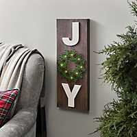 LED Joy Christmas Wreath Wall Plaque