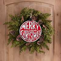 Red and White Round Merry Christmas Plaque