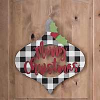 Merry Christmas Buffalo Check Ornament Plaque
