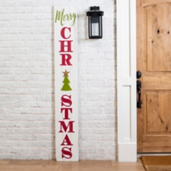 White Merry Christmas Porch Board