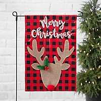 Merry Christmas Buffalo Check Deer Flag
