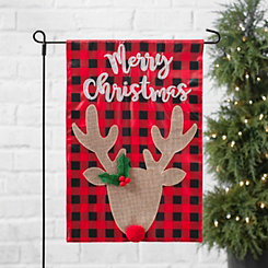 merry christmas buffalo check deer flag