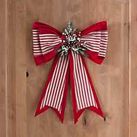 Striped Fabric Christmas Bow