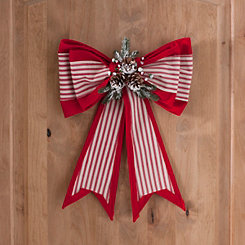 striped fabric christmas bow - Large Christmas Bells Decorations