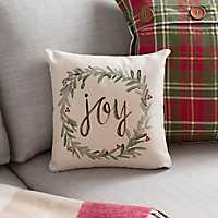 Joy Wreath Christmas Pillow