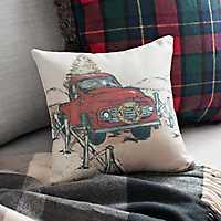 Christmas Truck Art Pillow