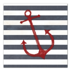 Red Anchor Striped Canvas Art Print