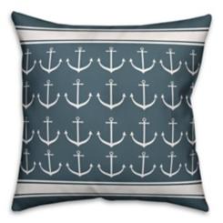 Navy Anchor Stripe Pillow