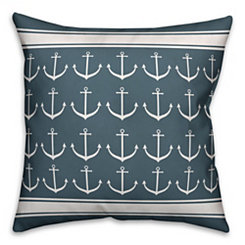 Navy Anchor Stripe Pillow